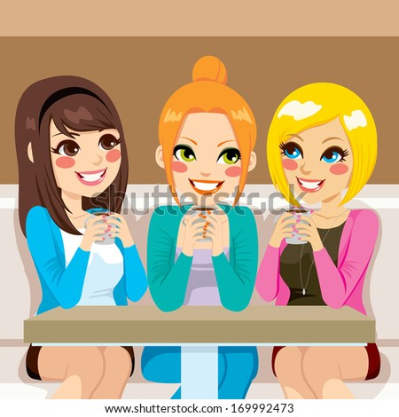 Three beautiful women talking friendly at coffee shop while drinking hot beverages - stock vector