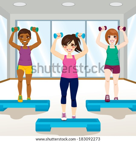 Three beautiful young girls doing aerobic exercises at gym - stock vector