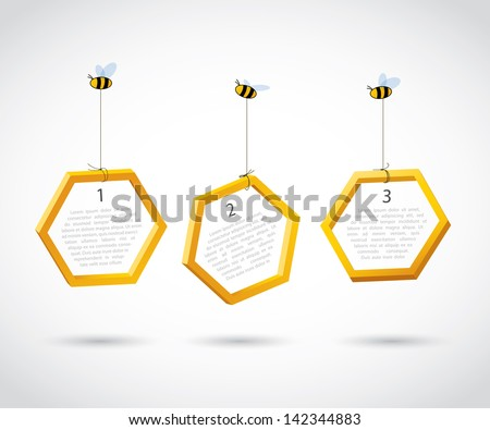 Three bees carry honeycombs - vector background - stock vector