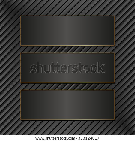 three black banners on textured background - stock vector