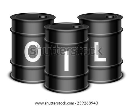 Three black oil barrels on white background - stock vector