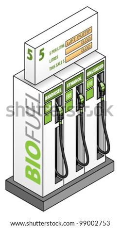 Three blended biofuel pumps/bowsers with fuel labels: bio diesel, unleaded and ethanol. - stock vector