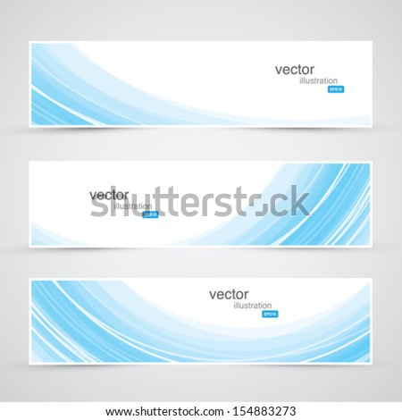 Three blue abstract waves background banner vector - stock vector