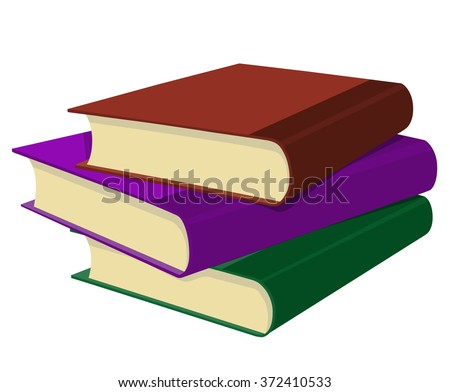 Three books in a stack on white background - stock vector