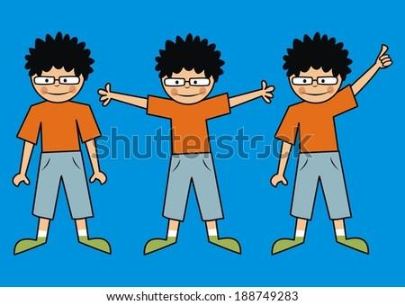Three boys - stock vector