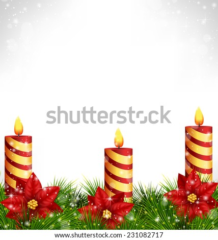 Three burning Christmas candles with pine branches and flowers of poinsettia in snowfall on grayscale background - stock vector