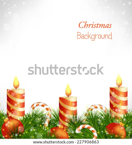 Three burning orange Christmas candles with Christmas balls, candy canes and pine branches in snowfall on grayscale background - stock vector