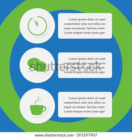 three business and media info graphic icons with text - green, blue and white, design template - stock vector