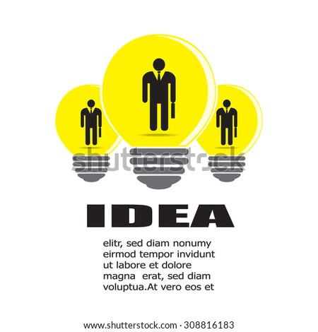 Three businessman icon in light bulb, business idea concept. Vector EPS 10. - stock vector