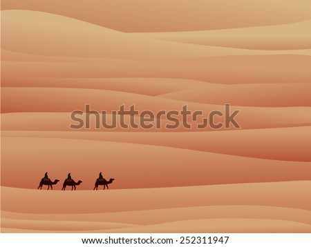 three camel in sands - stock vector