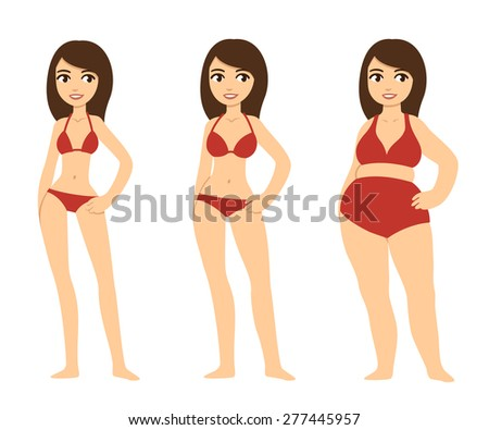 Three cartoon young women of various body types: skinny, average and chubby. The three girls wear same sets of red bikinis. Before and after. - stock vector