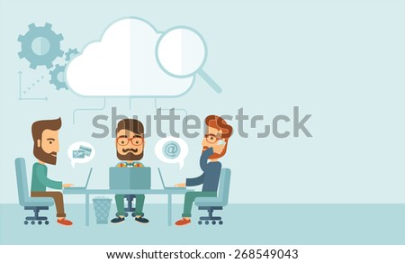 Three Caucasian businessmen with beard sitting on chair working together using cellphone and laptops for calling and searching an ideas for business plan.  A Contemporary style with pastel palette - stock vector