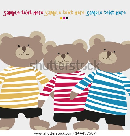 Three cheerful bear in colored shirts - stock vector