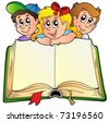 Three children with opened book - vector illustration. - stock vector