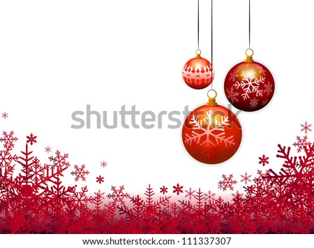 three christmas balls on red background - stock vector