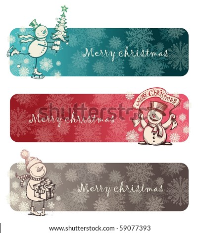 Three Christmas banners with hand drawn snowmans - stock vector