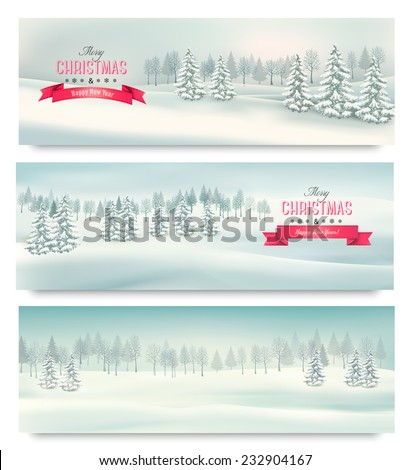 Three christmas landscape banners. Vector.  - stock vector