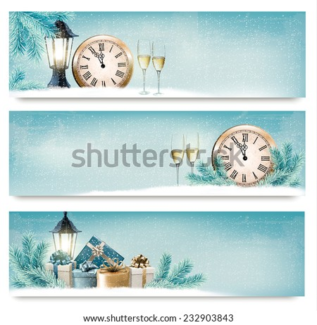 Three Christmas, New Year banners with gift boxes, lanterns and champagne. Vector.  - stock vector