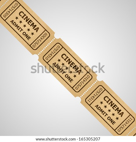 Three cinema tickets in retro style. Vintage symbol of film industry. Entertainment and leisure.   - stock vector