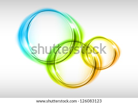 three circles on the light background - stock vector