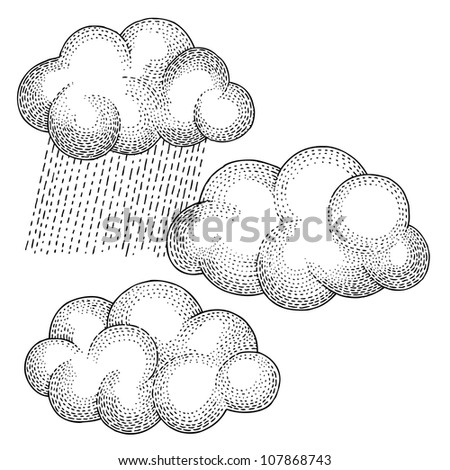 Three Clouds - stock vector