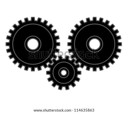 Three cogs. - stock vector