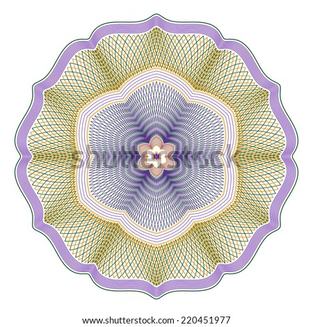 Three Color Guilloche Rosette Vector Illustration - stock vector