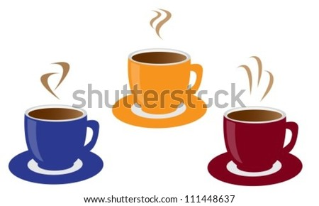 three colored cups of coffee and steam - stock vector
