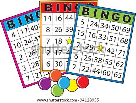 Three colorful bingo cards. - stock vector