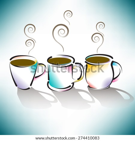 Three Colorful Coffee Cups  - stock vector