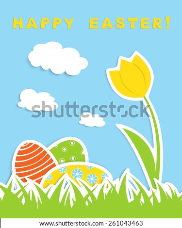 three colorful eggs and one tulip in green grass, blue sky and white clouds on background, applique vector illustration - stock vector