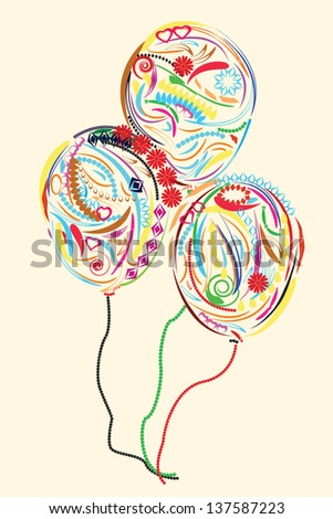 Three Colorful floral Balloons - stock vector