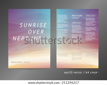 Three-column double sided vector catalog / leaflet / brochure / cover layout template with modern colorful polygonal deep space illustration. A4, eps10, cmyk.  - stock vector