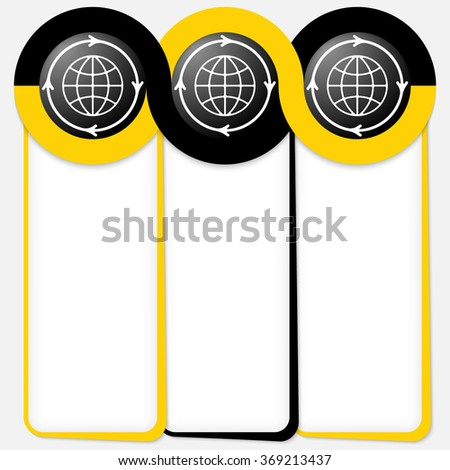 Three connected frames for your text and globe icons - stock vector