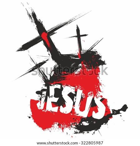 Three crosses. Jesus. Illustration. - stock vector