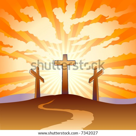 Three crosses on a hill with clouds with sunburst background - stock vector