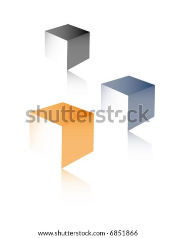 Three cubes with reflections - stock vector