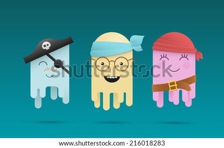 Three cute cartoon octopuses in pirates costumes. EPS10 vector illustration. - stock vector