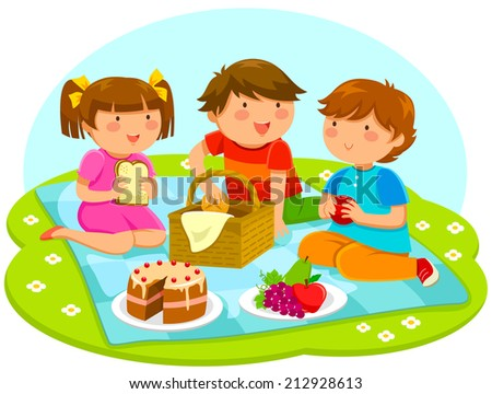 three cute kids having a picnic together - stock vector