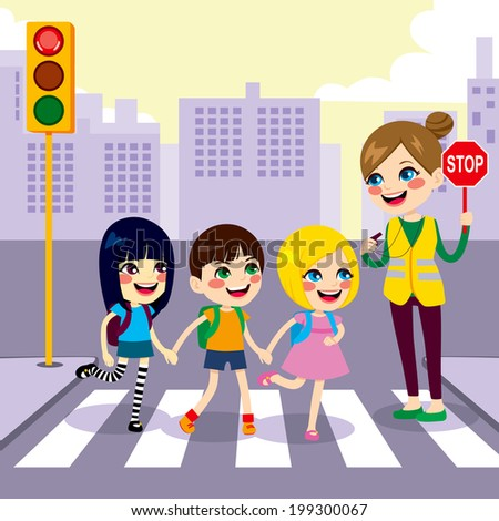 Three cute little children school students crossing street together with help from female teacher holding stop sign - stock vector