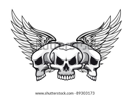 Three danger skulls with wings for tattoo or mascot design. Jpeg version also available in gallery - stock vector