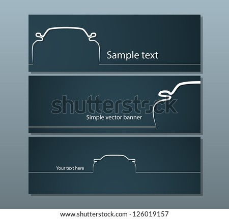 Three dark car backgrounds with simple vehicle contours. EPS10 vector. - stock vector