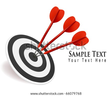 Three darts hitting a target. Success concept. Vector illustration. - stock vector