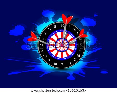 Three darts hitting target, Arrow and bow game concept on grungy dark blue background.EPS 10. - stock vector