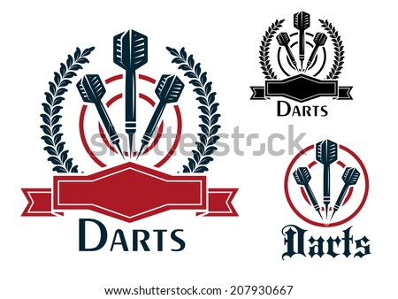 Three Darts sporting emblems or badges with darts on a dart board, two with laurel wreaths and blank ribbon banners and one plain all with text - Darts - for sport, sporting logo and leisure design - stock vector