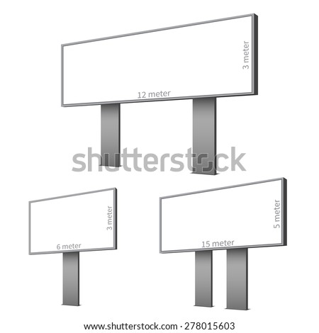 three different billboard for your projects - stock vector