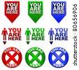 Three different YOU ARE HERE map markers in different colors - stock vector