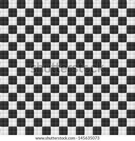 Three dimensional black and white chessboard seamless pattern - stock vector