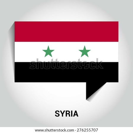 three dimensional 3d Syria flag in a speech bubble . education foreign language concept . country's name label in bottom . Vector illustration - stock vector