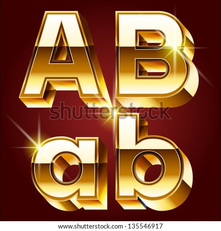 Three-dimensional golden alphabet. Vector illustration of 3d realistic font characters of gold. Letters a b - stock vector
